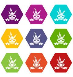 brazil carnival icons set 9 vector image
