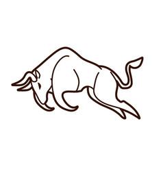 bull charging bull attack graphic vector image