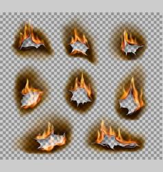 Burning holes fire flames realistic burnt paper vector