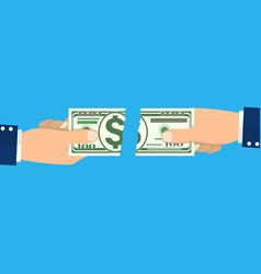 Businessman hands tearing apart money banknote vector