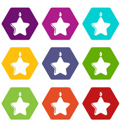 candle star icons set 9 vector image