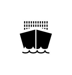 cargo ship icon solid vehicle and transportation vector image
