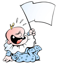 cartoon of a hysterically screaming baby boy vector image