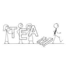 Cartoon of business team breaking down vector