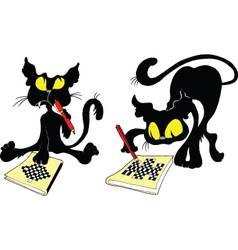 Cats and chess vector