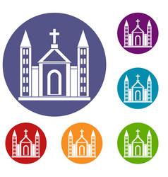 christian catholic church building icons set vector image