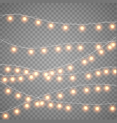 Christmas gold garlands isolation on transparent vector