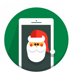 Circle Christmas icon flat Santa vector