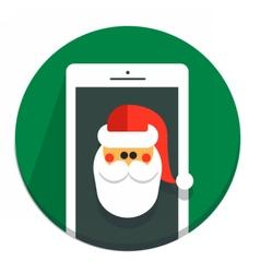 Circle christmas icon flat santa vector
