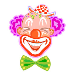 Circus smiling clown with purple hair vector