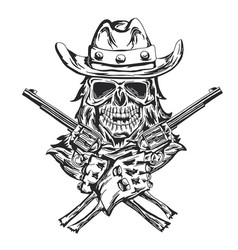 Cowboy skull with two guns vector