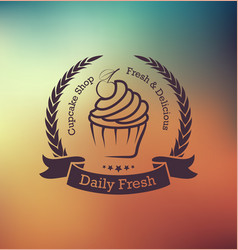 Cupcake label with laurel wreath vector