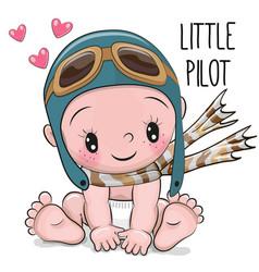 Cute cartoon baby boy in a pilot hat vector