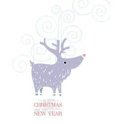 Cute grey deer New Year Christmas Holiday vector image