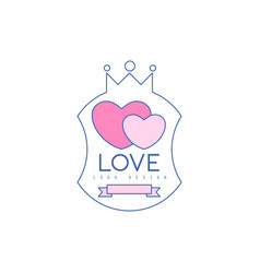 Cute line logo design with pink hearts and crown vector