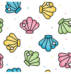 cute sea shell pastel seamless pattern vector image