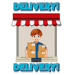 Delivery logo with deliver or courier man in blue vector