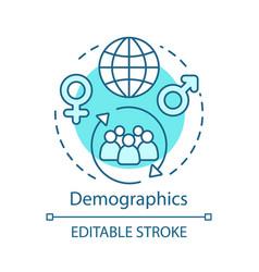Demographics turquoise concept icon worldwide vector