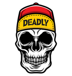 detailed classic skull head wearing a skate vector image