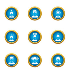 Difficult life icons set flat style vector