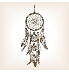 Dreamcatcher hand drawn sketch style vector