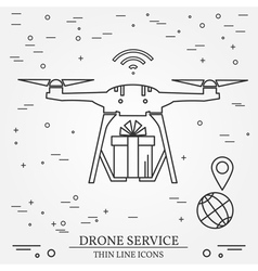 Drone service Drone delivery service Thin line ico vector