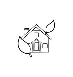 ecological house hand drawn outline doodle icon vector image