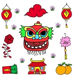 Element Chinese celebration doodles vector
