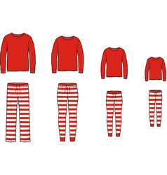 Family pajamas suit jumper and striped pants vector