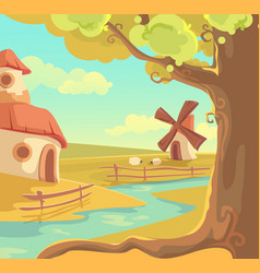 fantasy rural landscape cute vector image