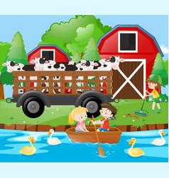 Farm scene with cows in wagon vector