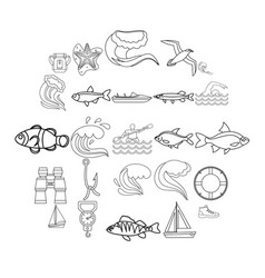 fishery icons set outline style vector image