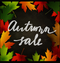 Frame of autumn leaves painted on black chalkboard vector