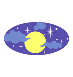 full moon on sky icon cartoon style vector image