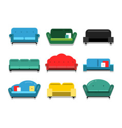 furniture couches and sofa flat style vector image
