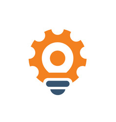 gear tool light bulb logo icon vector image