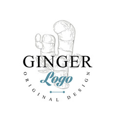 Ginger logo original design culinary spice emblem vector