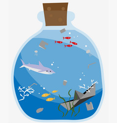 glass bottle contain sea lives and garbage vector image