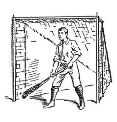 Goal keeper guarding goal lacrosse vintage vector