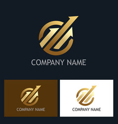 gold arrow progress logo vector image