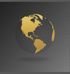 gold globe icons with different continents vector image