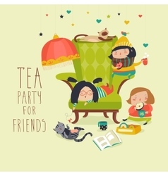 Group of Friends Having a Tea Party vector image