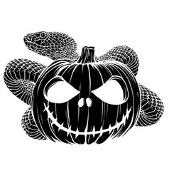 Halloween pumpkin with snake cartoon vector