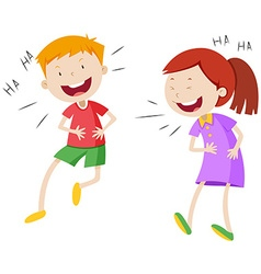 Happy boy and girl laughing vector