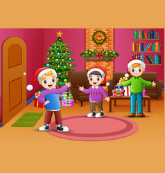Happy boy celebration a christmas in the living ro vector