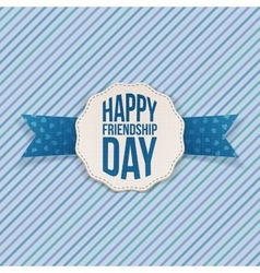 Happy Friendship Day Emblem with blue Ribbon vector