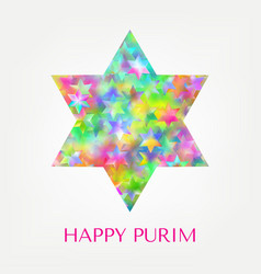happy purim card with stars vector image vector image