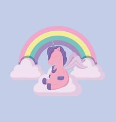 head cute unicorn of fairy tale with rainbow and vector image
