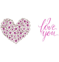 Heart of violets flowers lettering i love you vector