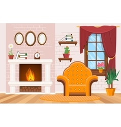 Home lounge interior with photo frames warm vector image